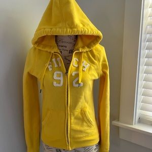 Yellow Abercrombie & Fitch zip up hoodie size sm